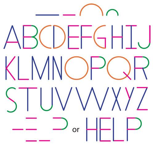 alfabeto para crear palabras celulares